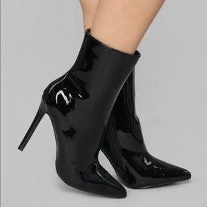 Black Patent Stiletto Heel Bootie